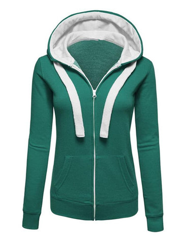 Casual Pure Color Patchwork Hooded Long Sleeve Women Coats