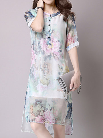 Women Vintage Floal Printed Fake Two Pieces Chiffon Dresses