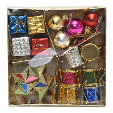 christmas decorations paper box christmas ornaments set christmas balls stars