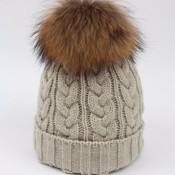 Pure Color Ski Slouch Fur Pompon Ball Beanie Beret Hat Crochet Knitting Thick Caps