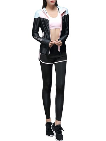 Women 3PCS Jacket Racerback Leggings Sport Yoga Spinning Tracksuits