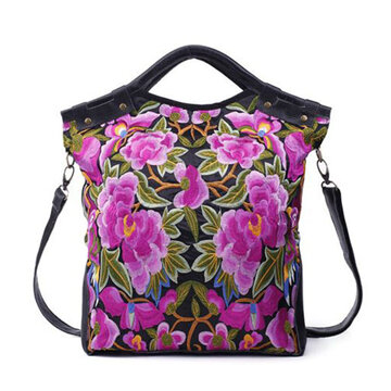 National Style Flower Pattern Handbag Shoulder Bag Crossbody Bag