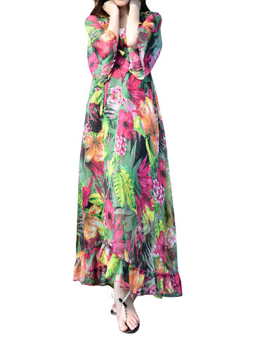 Vintage Printed Women Loose Long Sleeve V Neck Chiffon Dress