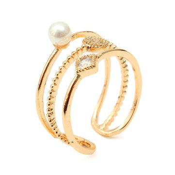 Модное многослойное микро-цирконное инкрустированное жемчужное кольцо