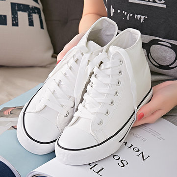 Pu High Top Pure Color Korean Style Lace Up Flat Sport Casual Shoes
