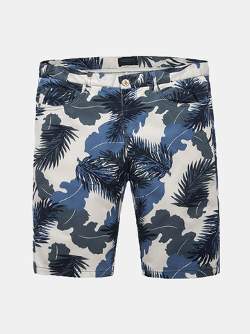 Summer Mens Blue Floral Printing Straight knee-Length Casaul Cotton Shorts