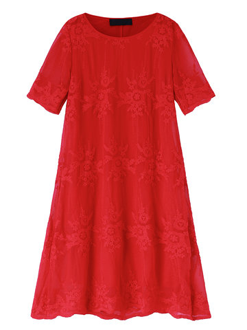 O-NEWE Elegant Solid Crochet Embroidery Party Dress For Women