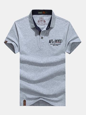 AFSJEEP Mens Summer Cotton Cor sólida manga curta casual polo