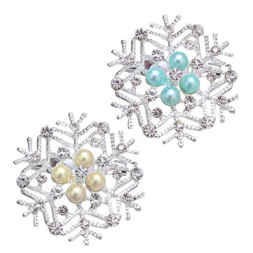 Luxury Jewelry Brooch Snowflakes Rhinestone Pearl Brooch