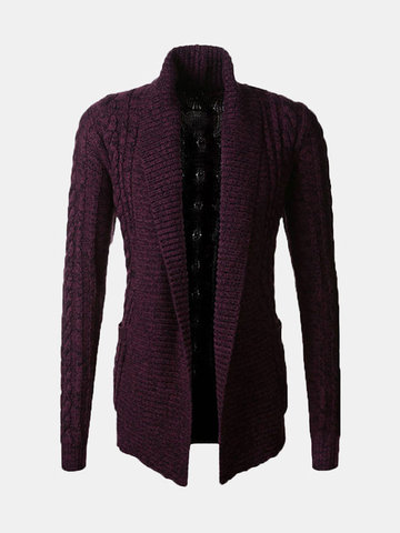 Mens Fall Winter Fashion Cardigans Fleece Knitted Thick Warm Stylish Sweaters