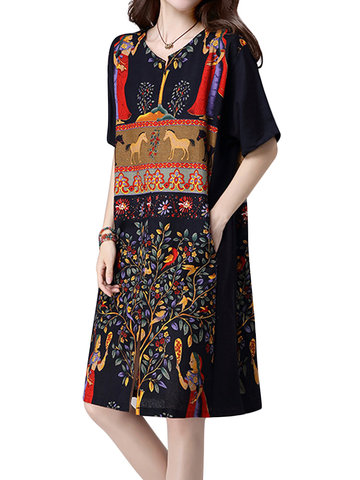 Gracila Vintage Women Short Sleeve Printed Split O-Neck Loose Dresses