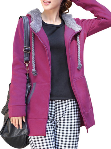 Women Thick Solid Hooded Fleece Drawstring Coat