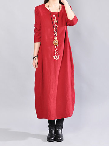 Casual Print Loose Long Sleeve Dresses For Women