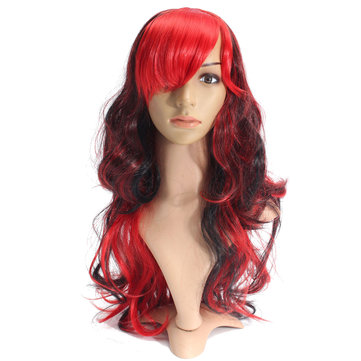 70cm Red Black Mix Color Cosplay Wig Long Wavy Curly Wig Women