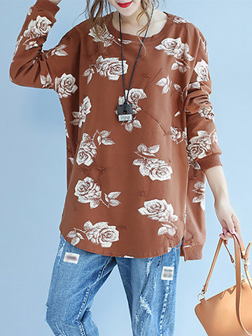 Country Style Pocket Printed Long Sleeves O Neck Shirts For Women