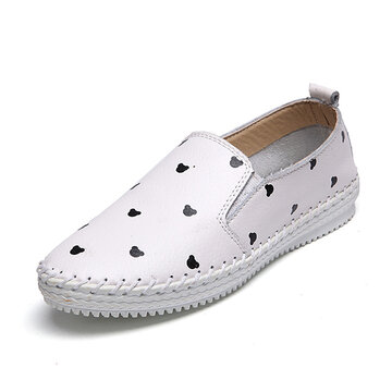 Leather Pattern Cartoon Korean Style Knitting Soft Slip On Flat Loafers