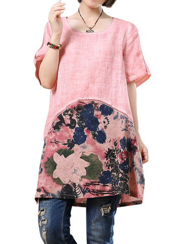 O-NEWE Brief Short Sleeves Patchwork Printed Dresses For Women