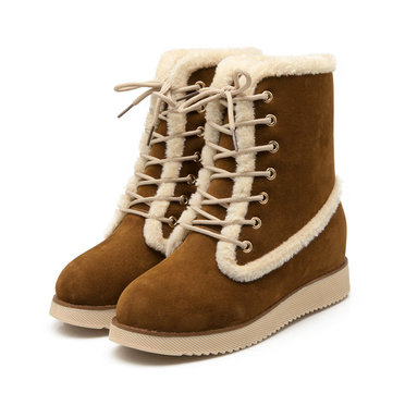 Color Match Lace Up Heel Increasing Ankle Warm Boots