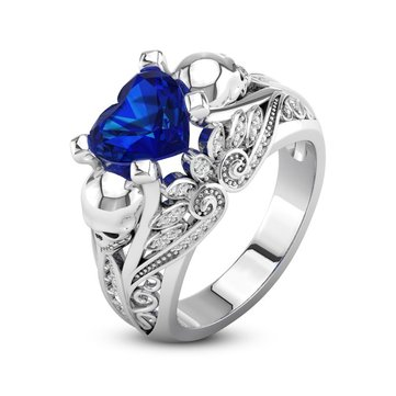 skull newchic s rings unique women personalized ring heart wedding nc at zirconia white engagement fashion blue punk sale online