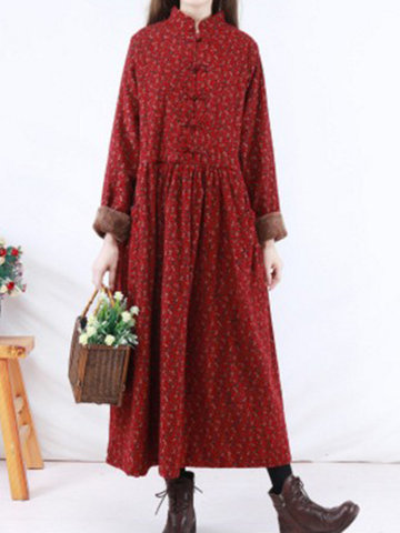Floral Printed Thicken Vintage Dresses