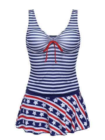 Deep Plunge Marine Stripe Star Printed Wireless Two Pieces Bathing Suit Tankinis