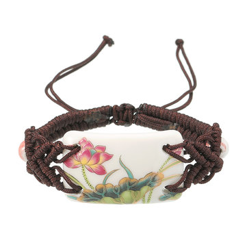 Women's Ethnic Bracelet Ceramics Flower Rope Retro Bracelet