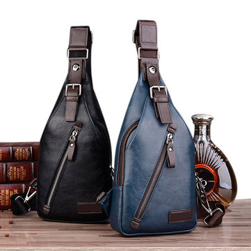 Men PU Leather Retro Chest Bag