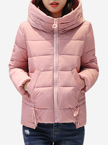 High Collar Hooded Cotton Down Coats