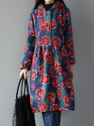 Folk Style Women Floral Printed Long Sleeve Hooded Thicken Coats