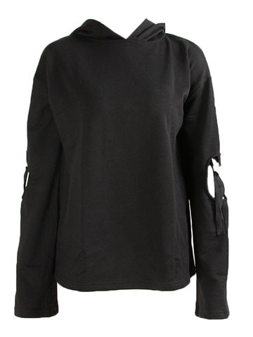 Casual Long Sleeves Pure Color Hooded Sweatshirts For Women
