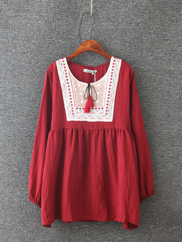 Ethnic Embroidery Round Neck Lace-up Shirt For Women