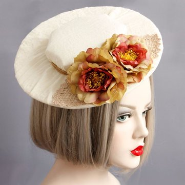 Cosplay Hair Clip Retro White Cotton Flower Shade Hair Clip Hat Jewelry