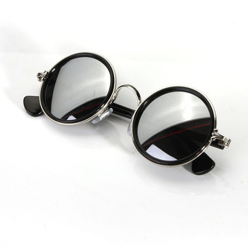 Men Women Vintage Retro Round Golden Metal Mirrored Sunglasses