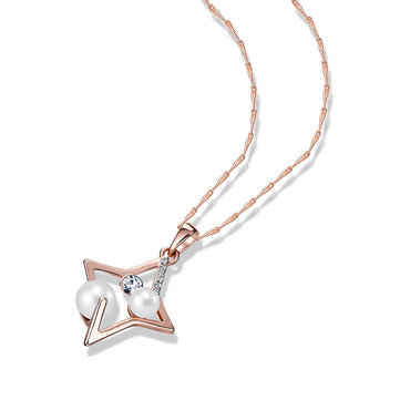 Lucky Star Pearl Zircon Pendant Necklace Rose Gold Plated Women Accessories