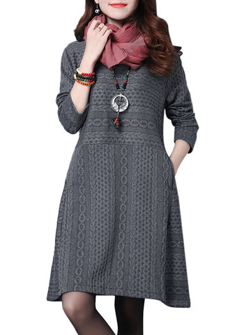 O-Newe Plus Size Elegant Solid Veins O-Neck Long Sleeve Cotton A-Line Dress