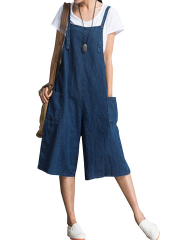 O-NEWE Loose Solid Strap Pocket Jumpsuit Trousers Overalls For Women
