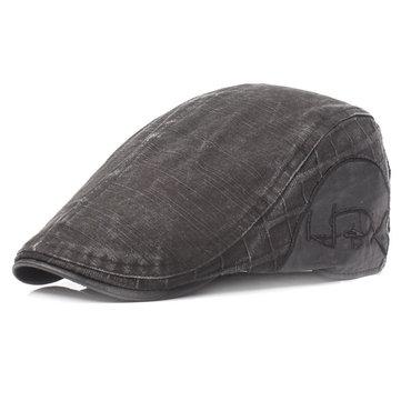Men Washed Cotton Beret Cap Adjustable