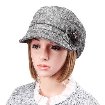 Women Warm Bowler Woolen Beanie Hat Snow Cap With Brim Fedora/Trilby Hat