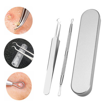 2 Pcs Stainless Steel Facial Extractor Blackhead Acne Blemish Remover Tweezer Needle Tools