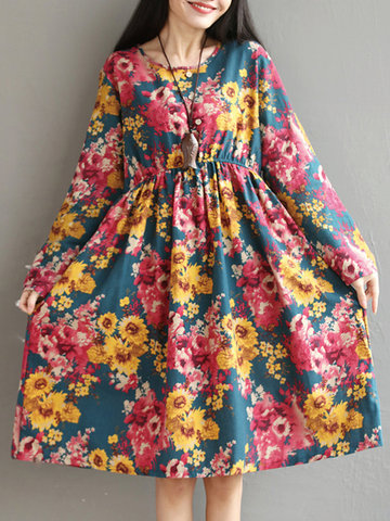 Country Style Floral Printed Long Sleeves Dresses For Women