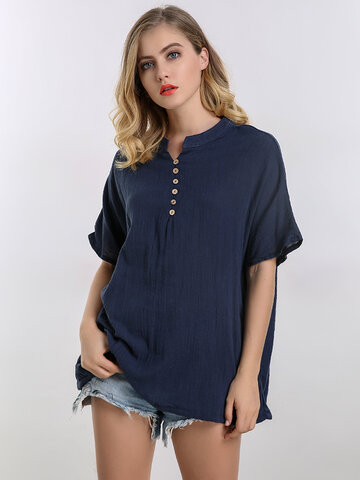 O-Newe Casual Women Solid V-Neck Hem Drawstring Tops