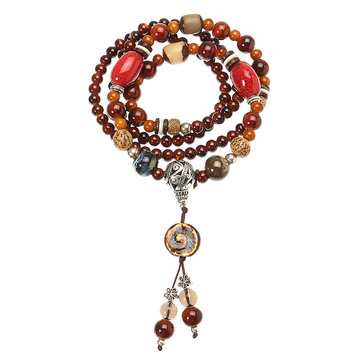 Women's Ethnic Necklace Retro Ceramics Bodhi Buddha Beads Necklace