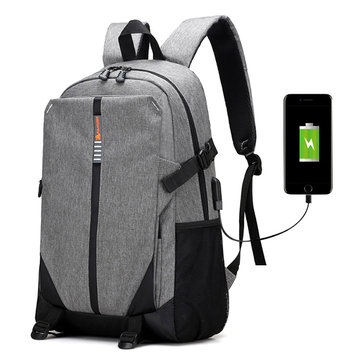 Big Capacity Travel Backpack Oxford USB Place Patchwork Outdoor Bag For Men
