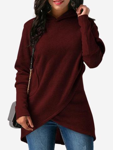 GRACILA Sudadera casual amplia asimétrica de color puro de manga larga para mujeres