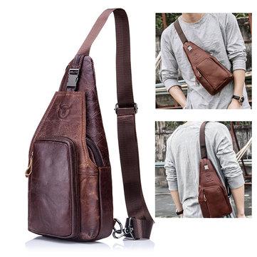 BULLCAPTAIN Натуральная Кожа Бизнес Повседневная Сумка Груди Crossbody Bag Для Мужчин