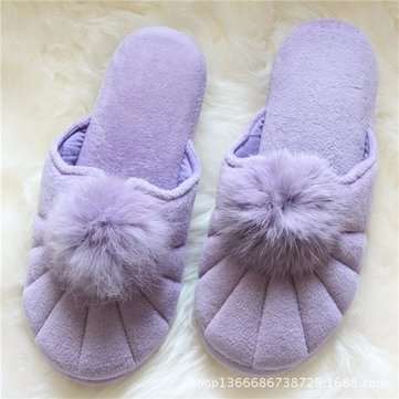 Cute Fur Ball Candy Color Cover Toe Slip On Indoor Home Shoes