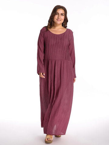 O-Newe Plus Size Pure Color O-Neck Long Sleeve Maxi Dress For Women