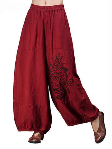 Embroidery Bloomers Wide Leg Pants