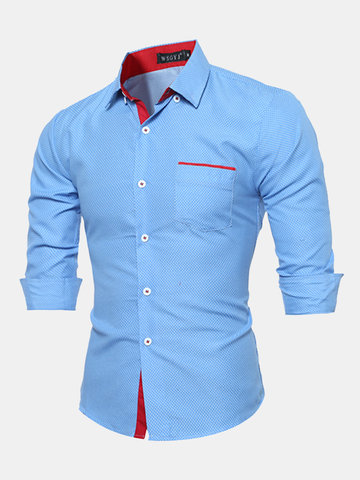 Design Slim Fit Formal Casual Stitching Dot Buttom Down Chest Pocket Dress Shirt for Men