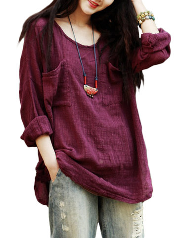 Loose Soft  Pure Color Women Pockets Vintage Blouse